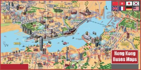 Карта центра Гонконга с достопримечательностями