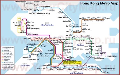 Схема метро Гонконга