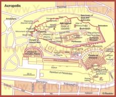 Карта Акрополя в Афинах