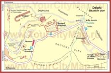 Карта старого города Дельф