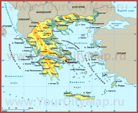Города Греции на карте