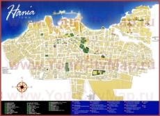 Туристическая карта Ханьи с отелями и магазинами