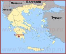 Каламата на карте Греции