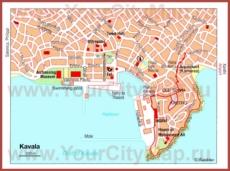 Карта Кавалы с достопримечательностями