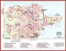 Карта Керкиры с достопримечательностями