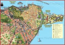 Подробная туристическая карта Керкиры с отелями