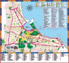 Туристическая карта города Кос с отелями и достопримечательностями