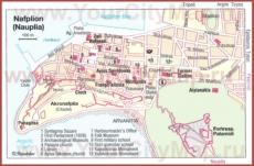 Карта Нафплиона с достопримечательностями
