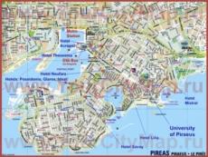 Туристическая карта Пирея с отелями