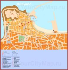 Подробная туристическая карта города Ретимно