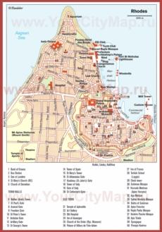 Карта старого города Родоса с достопримечательностями