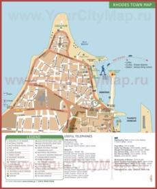 Туристическая карта города Родос