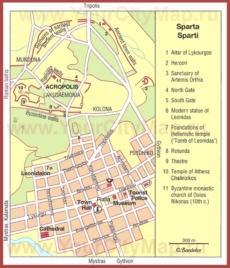 Туристическая карта Спарты с достопримечательностями