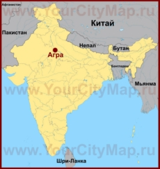 Агра на карте Индии
