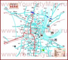 Подробная карта города Агра с отелями