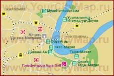 Туристическая карта центра Агры с достопримечательностями