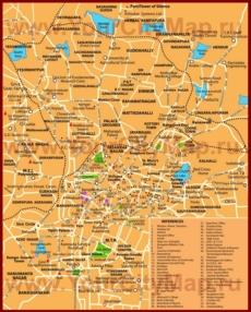 Подробная карта города Бангалор с отелями и достопримечательностями