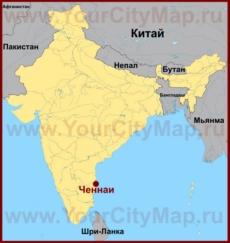 Ченнаи на карте Индии