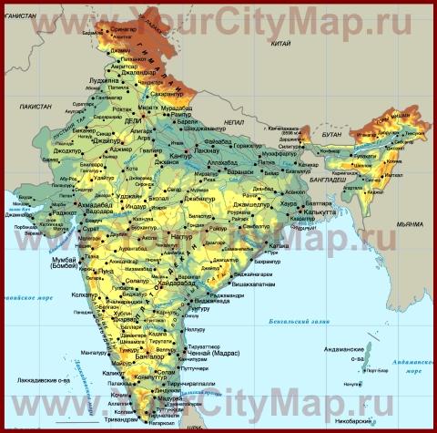 Города Индии на карте