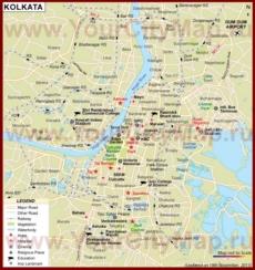 Туристическая карта Калькутты с отелями и достопримечательностями