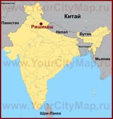 Ришикеш на карте Индии