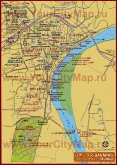 Карта города Варанаси с отелями и достопримечательностями