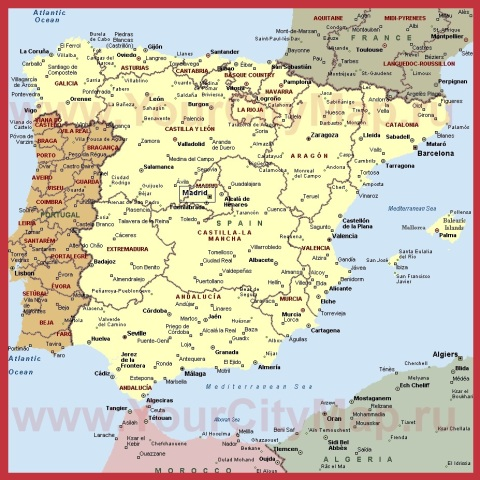 Города Испании на карте