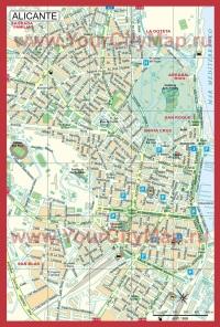 Карта города Аликанте с достопримечательностями