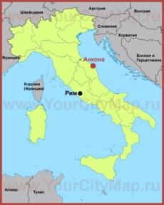 Анкона на карте Италии