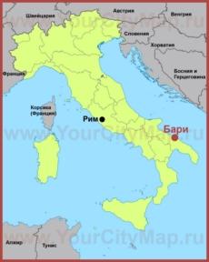 Бари на карте Италии
