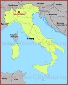 Бергамо на карте Италии