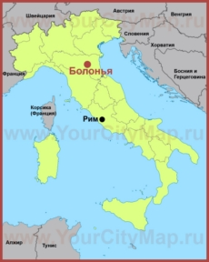 Болонья на карте Италии