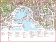 Туристическая карта Генуи с достопримечательностями
