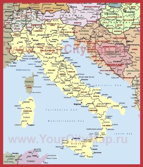 Города Италии на карте
