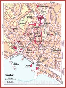 Карта Кальяри с достопримечательностями
