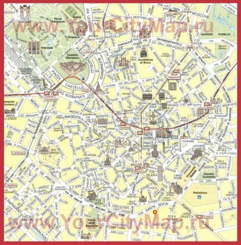 Карта города Милан с достопримечательностями