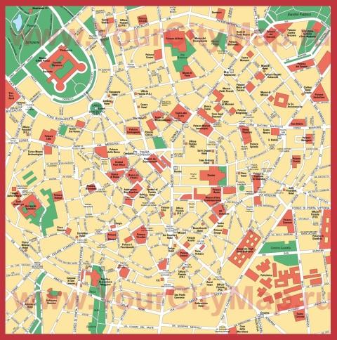 Подробная карта Милана с достопримечательностями