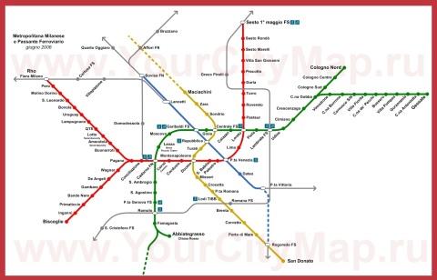 Карта метро Милана (Схема)