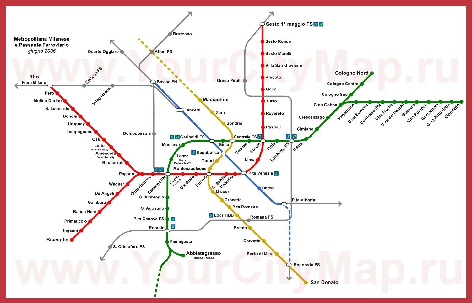 Карта метро милана.