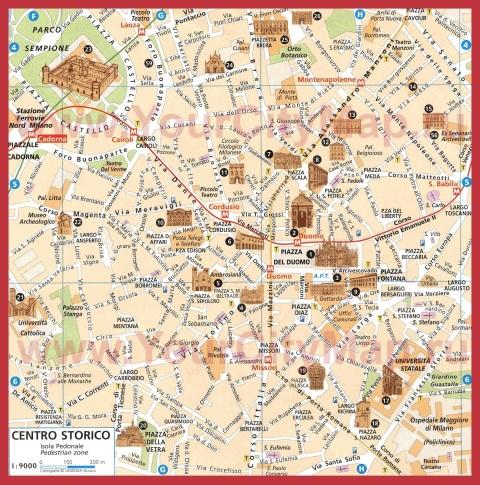 Туристическая карта центра Милана