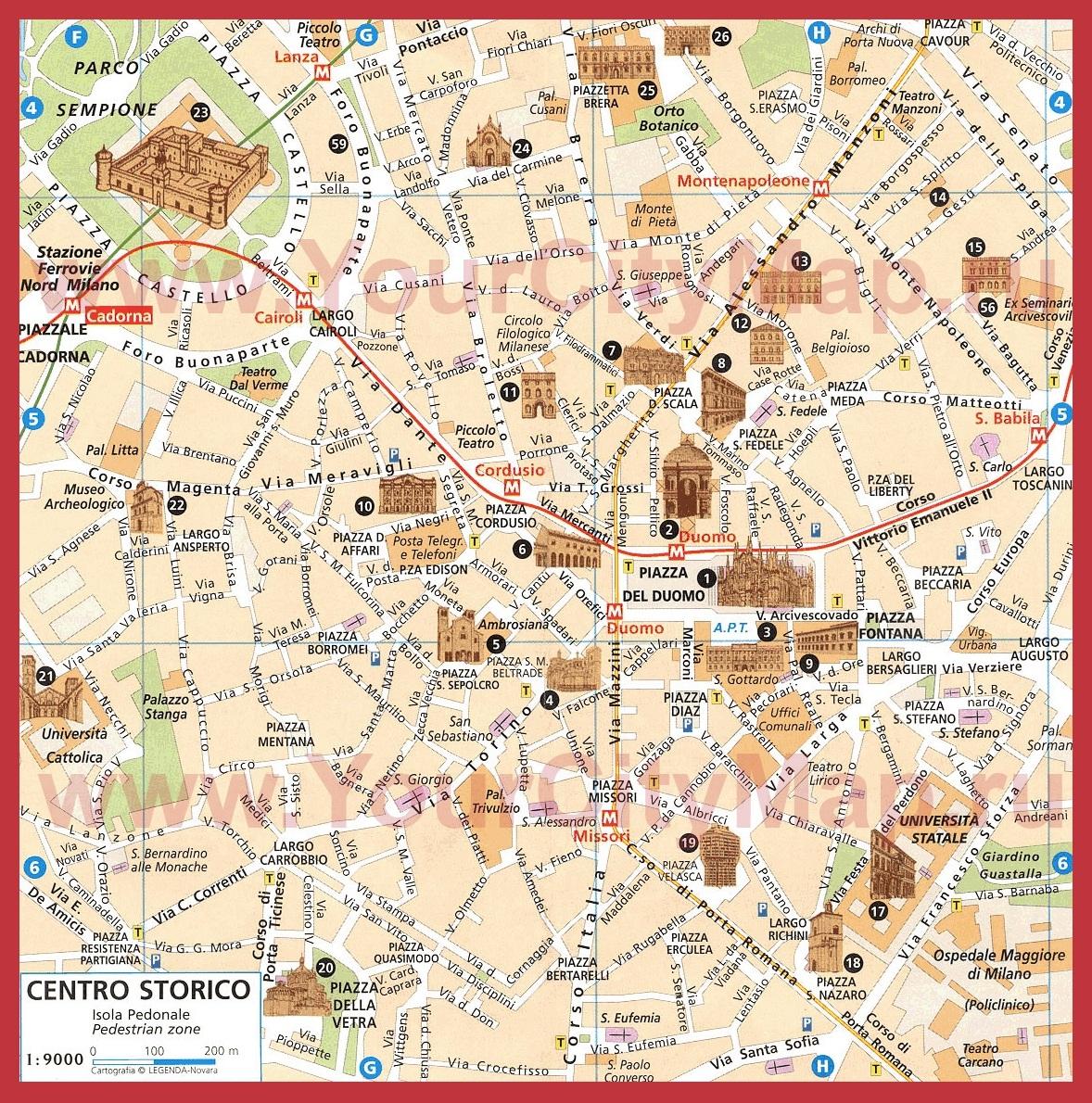 Turisticheskaya Karta Centra Milana