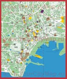 Подробная карта города Неаполь с достопримечательностями