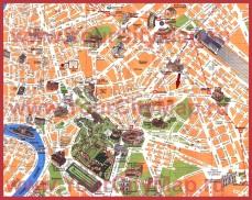Карта центра Рима с достопримечательностями