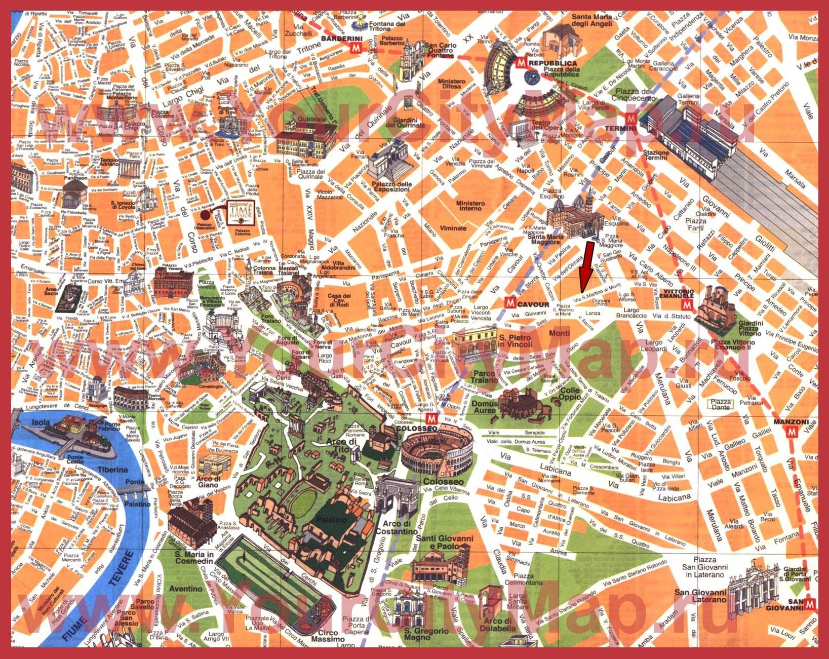 Карта центра рима с