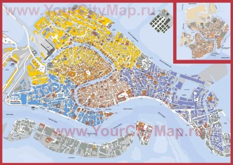 Подробная карта Венеции