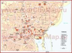 Карта Катании с достопримечательностями