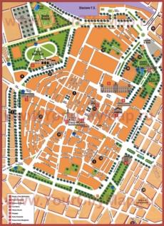 Туристическая карта Модены с достопримечательностями