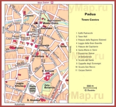 Туристическая карта Падуи с достопримечательностями