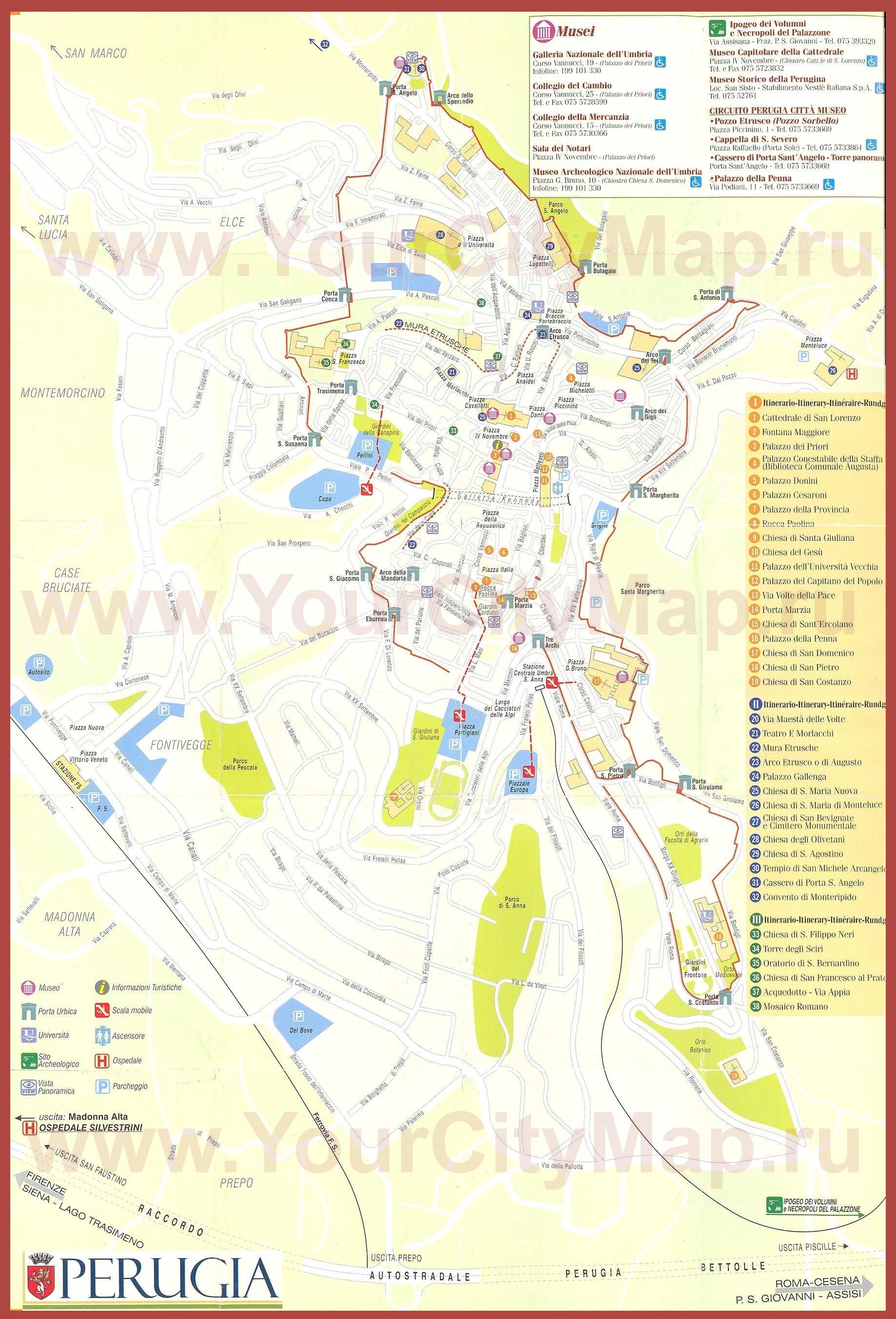 Карта Пизы С Достопримечательностями