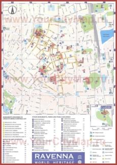 Туристическая карта Равенны с достопримечательностями